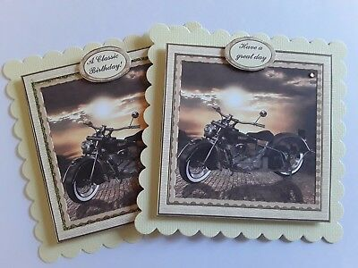 🐻133 ~Classic Motorbike~PKT of 2~Classic Birthday~ Hand made card toppers~