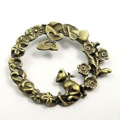 20X Antique Style Bronze Tone Alloy Garden Ring Pendant Charms 32*30*2mm