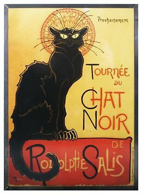 """Steinlen """"LE CHAT NOIR"""" Black Cat France French Stained Art Glass Panel Display"""