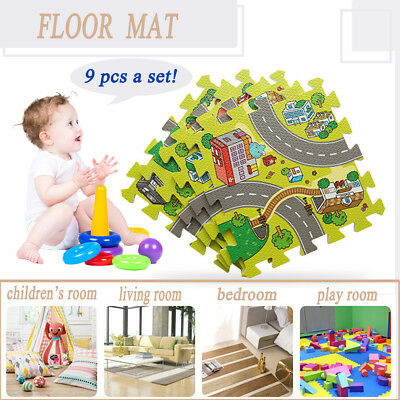 9pcs Kids Baby Number EVA Foam Floor Puzzle Play Mat Rug Crawling Blanket MECO