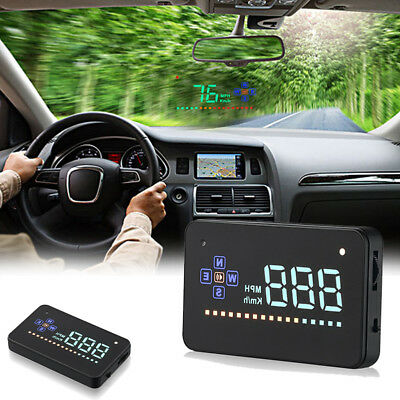 "Head Up Display 3.5"" A2 GPS Car Overspeed Warning Speedometer Cigarette HUD CHJ"