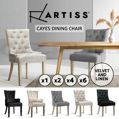 1/2/4/6x Dining Chairs Artiss CAYES Fabric French Provincial Retro Cafe Kitchen