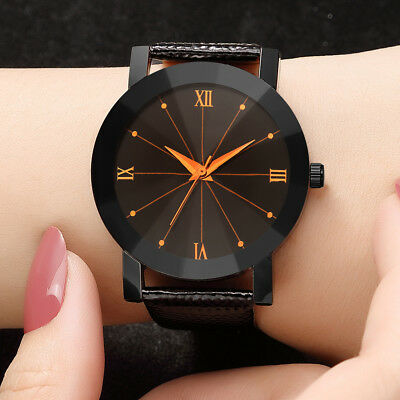 Women Luxury Quartz Sport Military Stainless Steel Dial Leather Band Wrist Watch