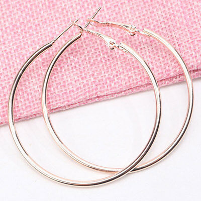 Women's Fashion Rose Gold Big Round Circle Hoop Smooth Earrings Wedding Jewelry