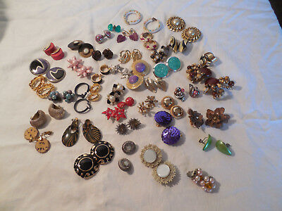 Large lot group of 42 clip on, screw back earrings, Vintage & pre owned pieces