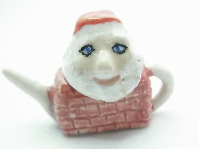 Dollhouse miniature artist hand painted  ceramic teapot with santa