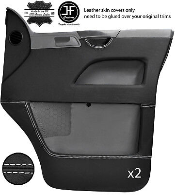 White Stitch 2X Front Door Card Leather Covers For Vw T5 Transporter Caravelle