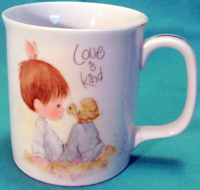 1983 PRECIOUS MOMENTS CUP MUG Love Is Kind BOY, TURTLE & BUTTERFLY