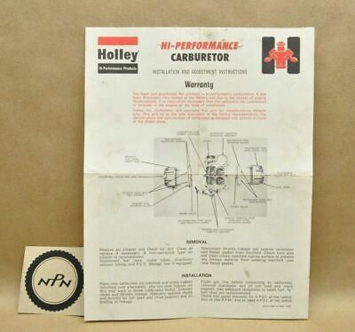 VINTAGE HOLLEY PERFORMANCE Carburetor Jet Set Storage Holder