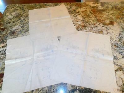 LOT of 3 Vintage Pure LINEN Stamped for Embroidery 3 Piece VANITY SET Flower Bas
