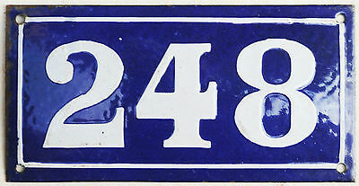 Large old blue French house number 248 door gate plate plaque enamel metal sign