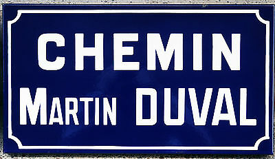 French enamel steel road street sign plaque plate Chemin Martin Duval Normandy