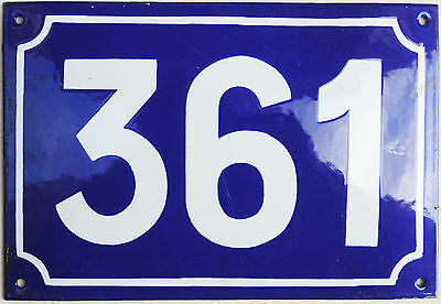 Large old French house number 361 door gate plate plaque enamel steel metal sign