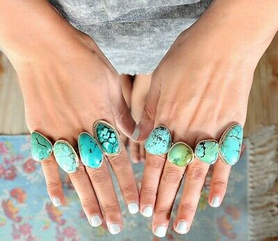 925 Sterling Silver Big Turquoise Ring Womens Boho Chunky Jewelry Size 5 6 7 8