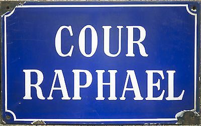 French vitreous enamel steel street sign road plaque plate vintage Cour Raphael