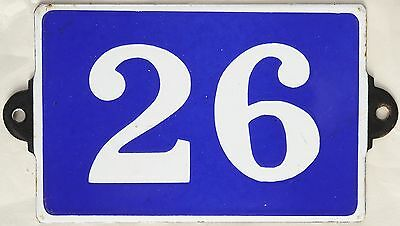 Old blue French house number 26 door gate plate plaque enamel metal sign steel