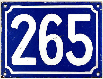 Large old blue French house number 265 door gate plate plaque enamel metal sign