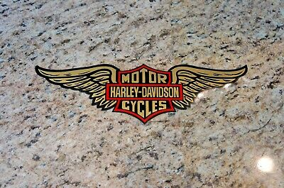 Harley Davidson Retro Gold Wing Bar and Shield Window Decal Inside Vintage 12.75
