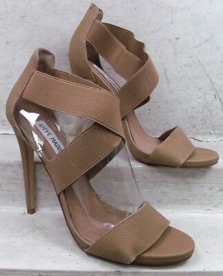 f37399d85c14 NEW Steve Madden Womens Maarla Beige Textured Heels Sandals Shoes size mm  7.5 M