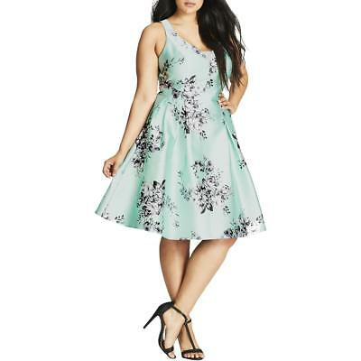 f6dc343972c1 City Chic Womens Floral Fit & Flare Daytime Party Dress Plus BHFO 3224