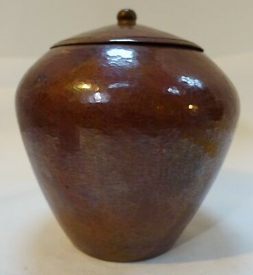 Dbx  MEXICAN HAMMERED COPPER LIDDED JAR, ARTS & CRAFTS STYLE by Ramon Ramirez