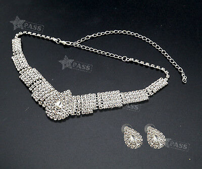 Party Wedding Bridal Diamante Crystal Earrings Necklace Set Jewelry White