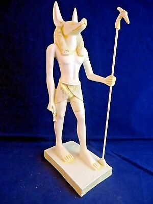 Ancient Egyptian God Anubis Holding Staff Figurine Signed 2000 Veronese -o6