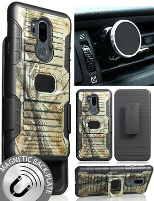 Camo Tree Real Woods Case + Belt Clip + Magnetic Car Mount for LG G7 ThinQ G7+