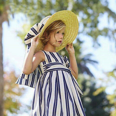 Toddler Baby Girls Infant Kids Striped Strap Zip Dresses Clothes Princess Dress