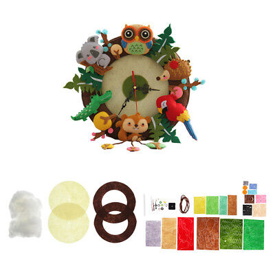 Animals Clock Toy DIY Craft Sewing Felt Applique Kit For Felt Fabric Craft