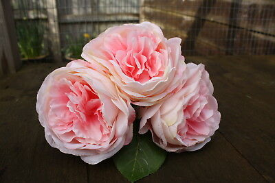 3 x PALE PINK /  BLUSH PINK SHADED LUXURY  SILK PEONY ROSES 9cm -  LONG STEMS