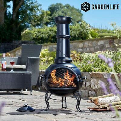 Garden Life Cast Iron & Steel Chimeneas Garden Patio Outdoor BBQ Fire Pit Poker