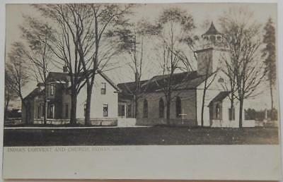 Antique 1905-08 Real Photo Postcard Indian Convent and Church Indian Island ME