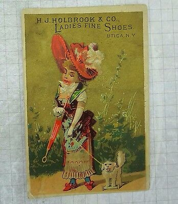 Antique H J Holbrook Ladies Fine Shoes Utica NY trade card girl dog toy 1880s