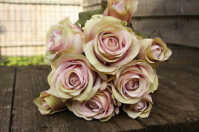 9 x VINTAGE SHADED PINK SILK ROSES & ROSE BUDS TIED BUNCH / SMALL BOUQUET