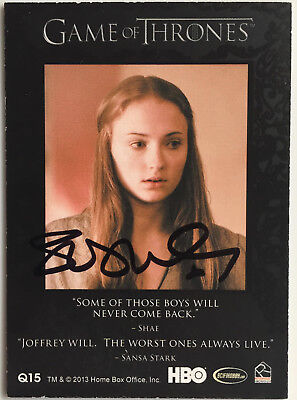 Sophie Turner Sansa Signed Trading Card Jsa Rittenhouse Game Of Thrones Auto