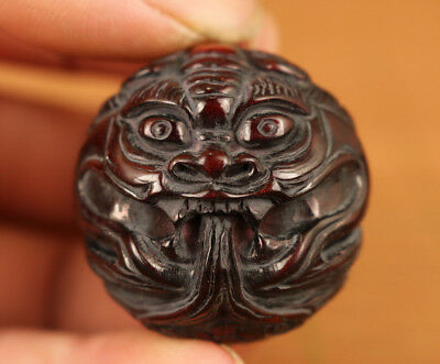 Rare Chinese Old Yak Horn Handmade Carved Dragon Rare antique Statue Netsuke