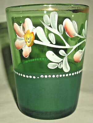 One Emerald Victorian Hand Painted & Enameled Tumbler Gold Trim Excellent Cond!