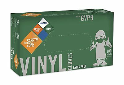 Safety Zone GVP9 Clear Vinyl Exam Gloves, Medium (10 Boxes of 100)