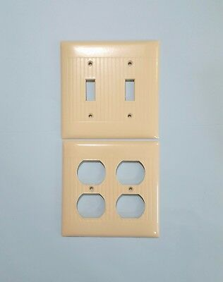 2 Vintage Sierra Ivory Ribbed Bakelite Double Switch & Outlet Covers