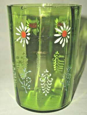 One Green Optic Victorian Hand Painted & Enameled Tumbler Excellent Cond!