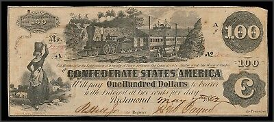 drbobcoins US Confederate $100 Train Note, 1862