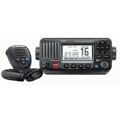 ICOM M424G Fixed Mount VHF Marine Radio Transceiver with Built-In GPS - Black