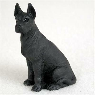 Great Dane Black Cropped Ears Dog Tiny One Miniature Small Hand Painted Figurine