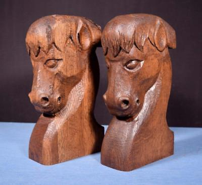 *Pair of French Vintage Carved Oak Wood Horse Heads Corbels Salvage Trim