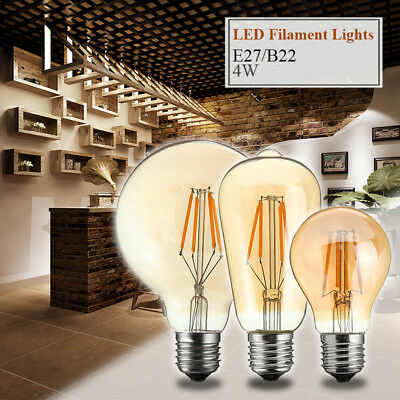 E27/B22 Retro Bulb LED Light COB Industrial Style Edison Filament Lamp 4W 220V