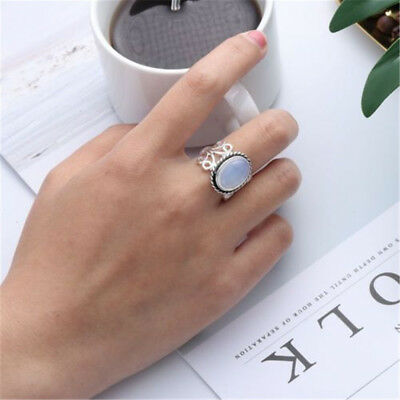 Women Rainbow Moonstone Ring Oval Sterling Silver Natural Gemstone Jewelry