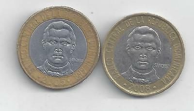 2 BI-METAL 5 PESO COINS from the DOMINICAN REPUBLIC - 2005 & 2008 (2 TYPES)