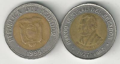 2 DIFFERENT BI-METAL 100 SUCRES COINS from ECUADOR - 1995 & 1997 (2 TYPES)