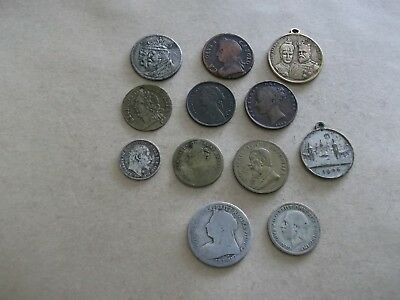 JOB LOT OF OLD COINS/MEDALS/TOKENS WITH SILVER 99p 3J 4